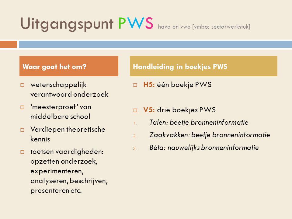 Uitgangspunt PWS havo en vwo [vmbo: sectorwerkstuk]
